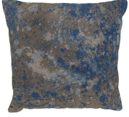 Splatter Paint Blue Square Pillow