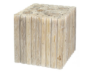 Square Branch Teak Stool, Whitewash