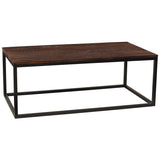 Burlington Iron & Wood Coffee Table Large, Rustic Dark Gray Wash
