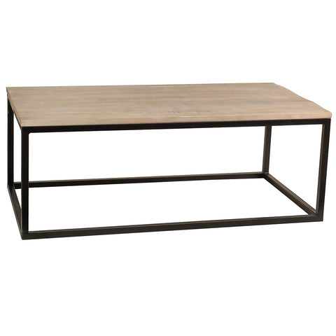 Burlington Iron & Wood Coffee Table Large, Rustic Whitewash