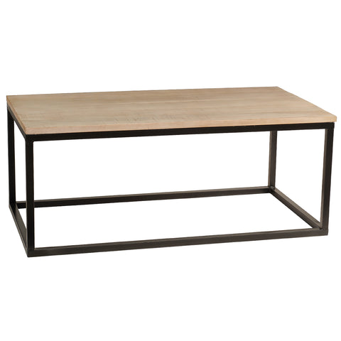 Burlington Iron & Wood Coffee Table Medium, Rustic Whitewash