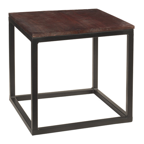 Burlington Iron & Wood End Table Large, Dark Mahogany