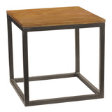 Burlington Iron & Wood End Table Large, Rustic Honey