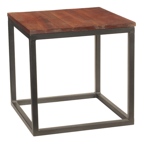 Burlington Iron & Wood End Table Large, Rustic Tobacco
