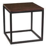 Burlington Iron & Wood End Table Large, Rustic Dark Gray Wash