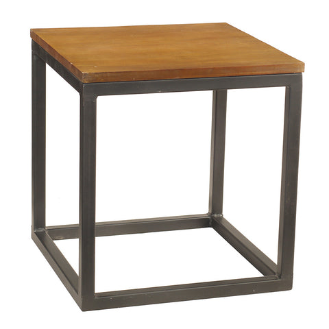 Burlington Iron & Wood End Table Medium, Rustic Honey