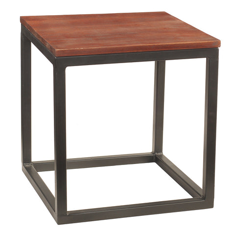 Burlington Iron & Wood End Table Medium, Rustic Tobacco