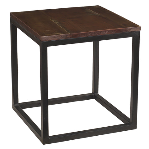 Burlington Iron & Wood End Table Medium, Rustic Dark Gray Wash