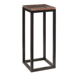 "Burlington Iron & Wood Pedestal Table 29"", Rustic Dark Gray Wash"