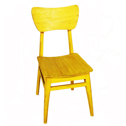 Mod Wood Chair, Yellow Distress