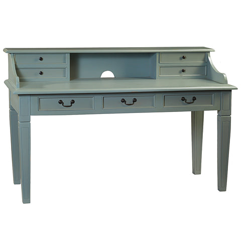 Samuel Hand-Carved Piano Desk, Slate Blue