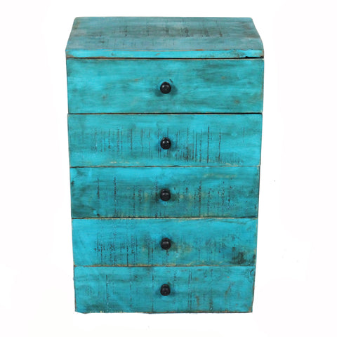 Nora Tabletop Chest of Drawers, Antique Blue Distress