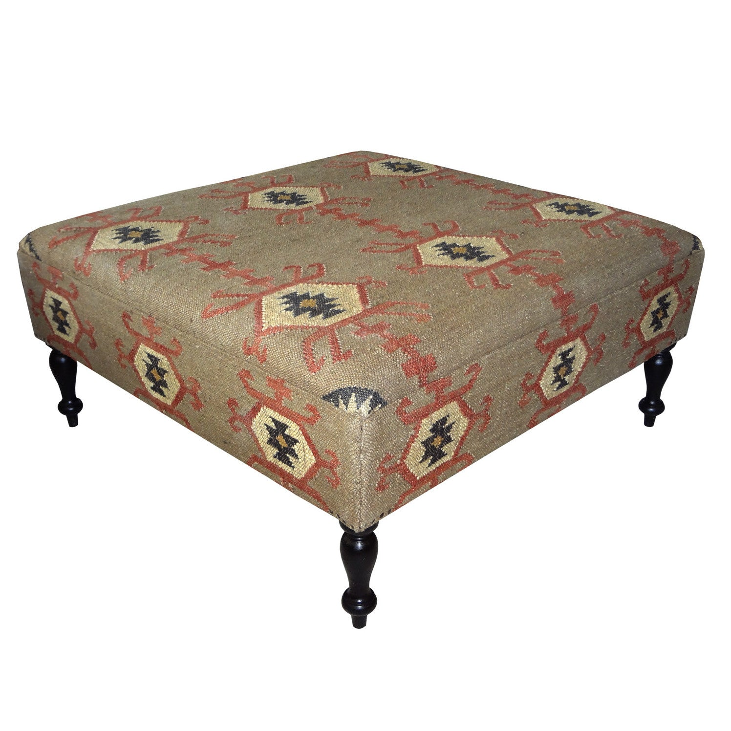 Jute Ottoman Coffee Table Tan & Red