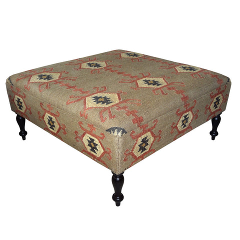 Jute Ottoman Coffee Table, Tan & Red