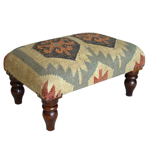 Jute Footstool, Cream & Blue