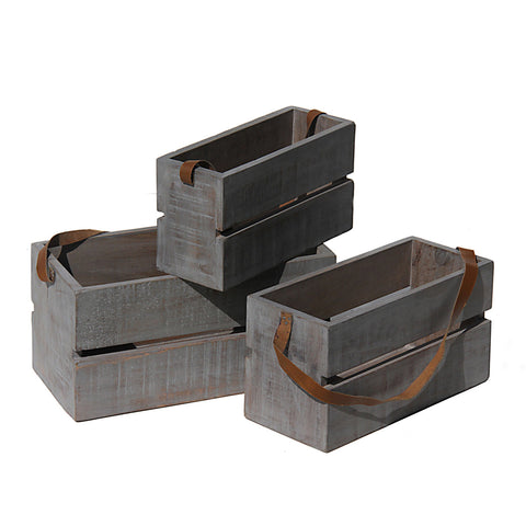 Planter Box Large with Leather Strap, Gray with distress
