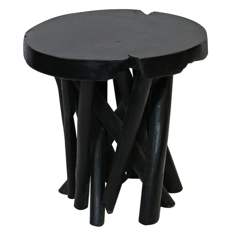 Round Branch Teak Stool, Black