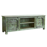Distressed Indian Wooden TV Stand, Green