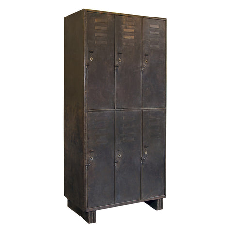 Vintage Iron Lockers Cabinet, Dark Iron
