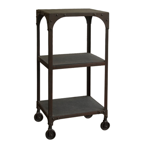 Iron Rolling Shelf with Stone Top, Dark Iron