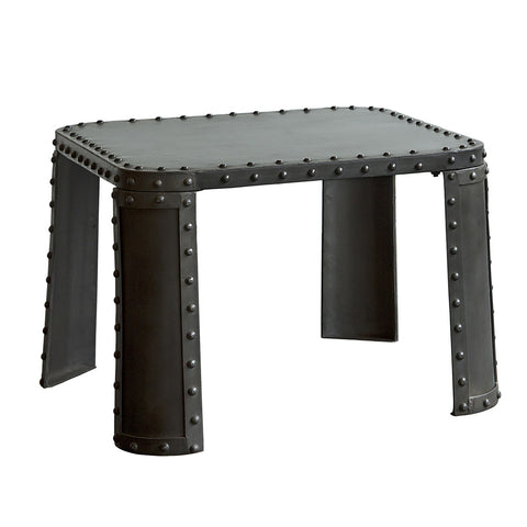 Natural Riveted Iron End Table, Dark Iron