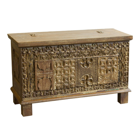 Indian Carved Trunk, Light Wood