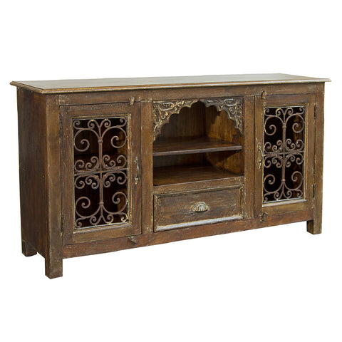 Wood and Iron Jali TV Stand, Light Brown