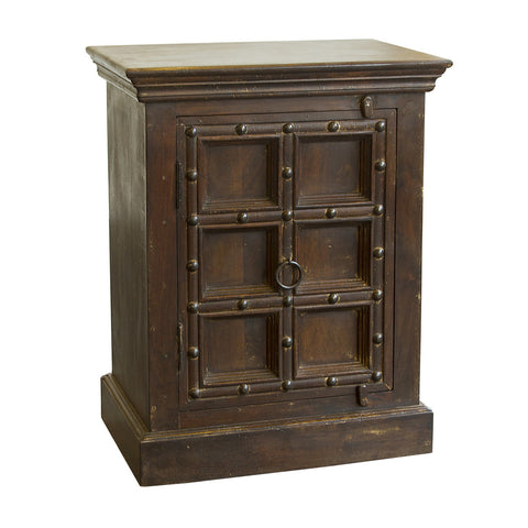 Wooden Indian Bedside Table, Dark Brown