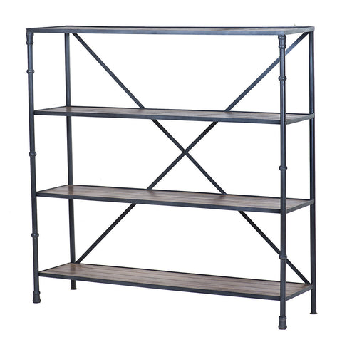 Wooden and Iron Shelf, Natural Iron Finish