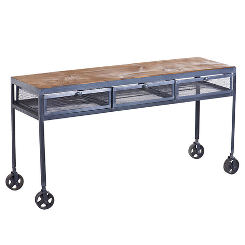 Proximo Industrial Wood and Iron Desk, Dark Iron