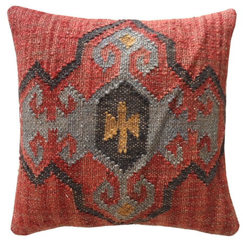 Decorative Jute Pillow, Red