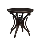 Clove Round Accent Table, Dark Mahogany