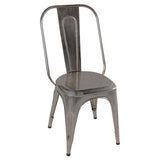 Industrial Dining Chair, Antique Nickel