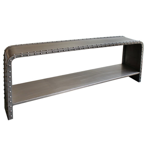 Matera Iron Rivited Console, Antique Nickel