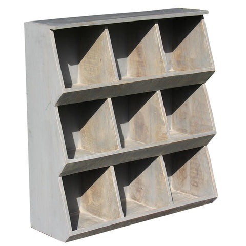 9 Compartment Rack, Grey Distress