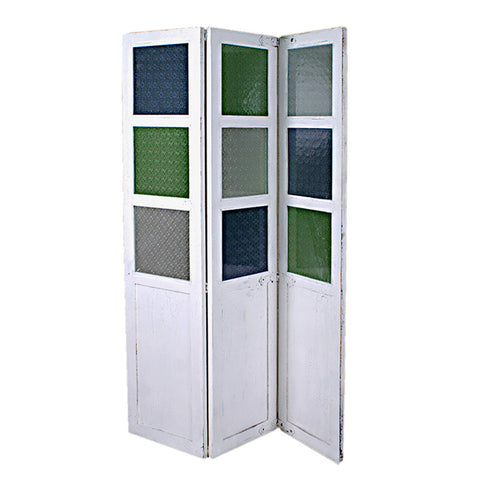 Colored Room Divider, White Crackle
