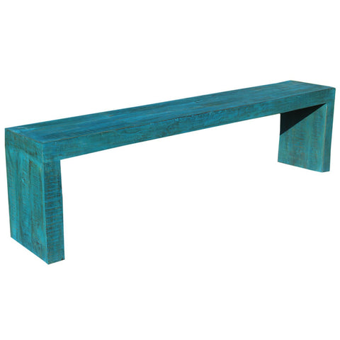 Long Bench, Blue Distress