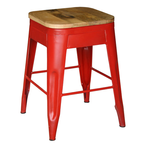 Galvan Iron Wood Bar Stool, Red