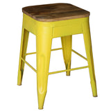Galvan Iron Wood Bar Stool, Yellow