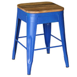 Galvan Iron Wood Bar Stool, Blue