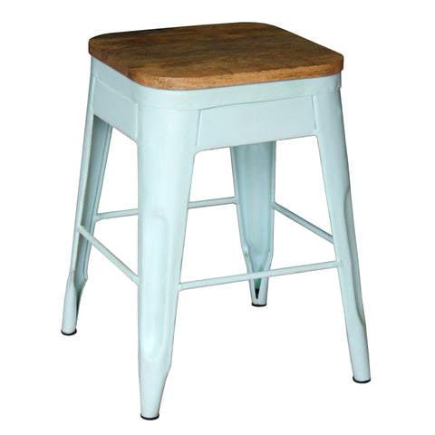 Galvan Iron Wood Bar Stool, Light Blue