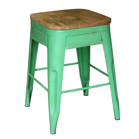 Galvan Iron Wood Bar Stool, Green