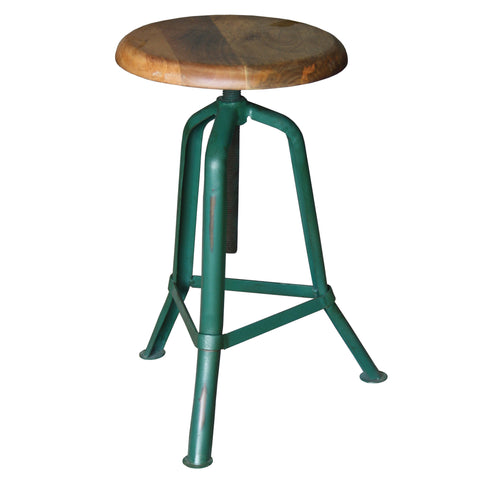 Fernton Iron Wood Stool, Green