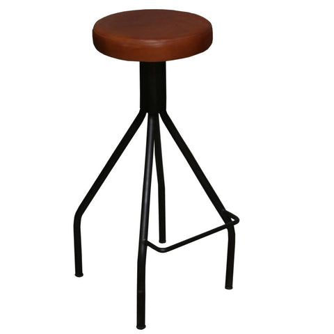 "Vittum Iron Leather Stool, 30"" High"