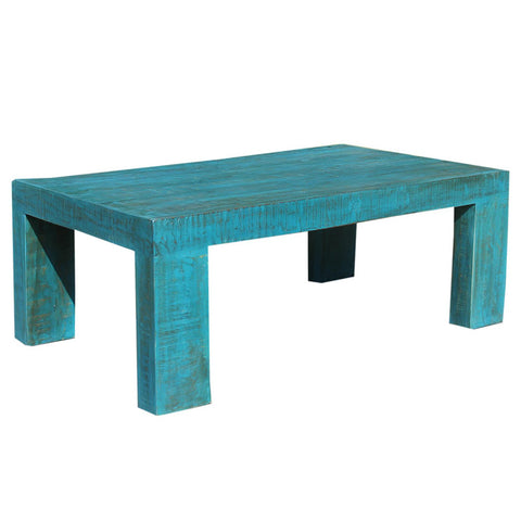 Minimal Wood Center Table, Blue Distress