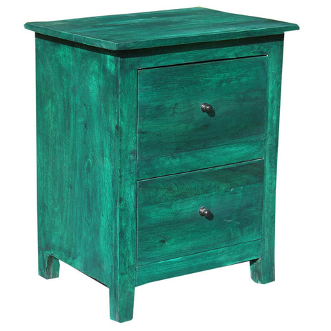 Two Drawer Side Table, Green Distress