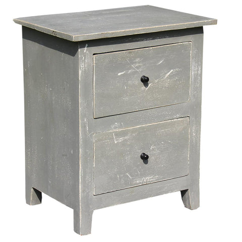 Two Drawer Side Table, White and Grey Distress