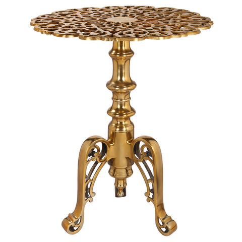 Aluminum Fretwork Round Accent Table, Antique Gold