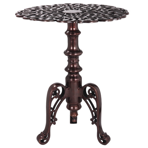 Aluminum Fretwork Round Accent Table, Antique Bronze