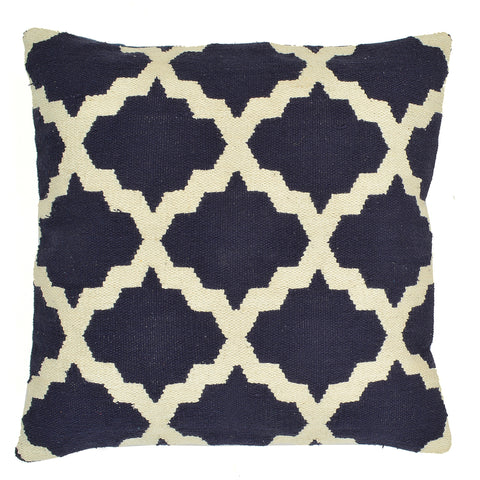 "Trellis 20"" x 20"" Pillow, Navy"